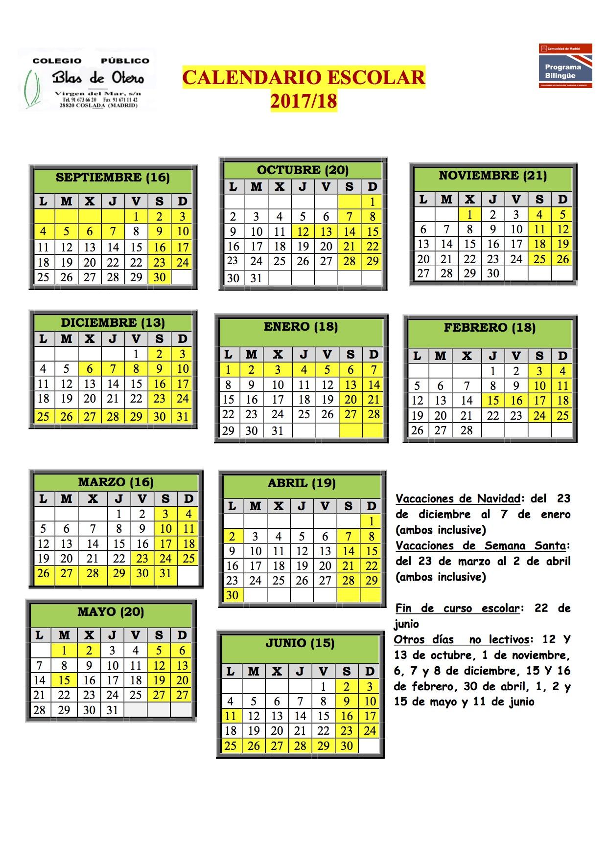 Calendario Escolar 2019 Madrid.Calendario Escolar 2017 20 18 Cp Blas De Otero