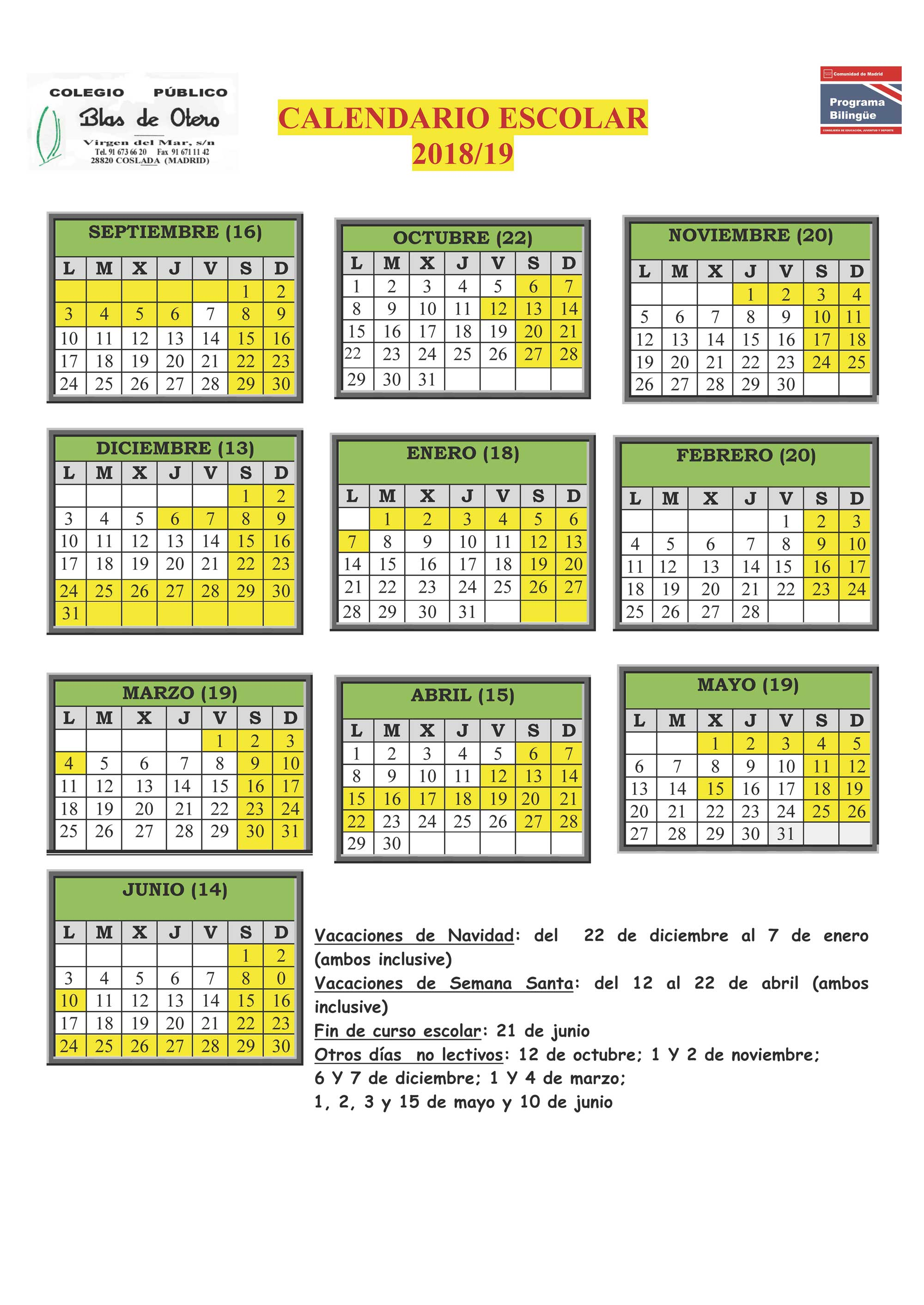Calendario Escolar Madrid 2020 2019.Calendario Escolar 2018 2019 Cp Blas De Otero